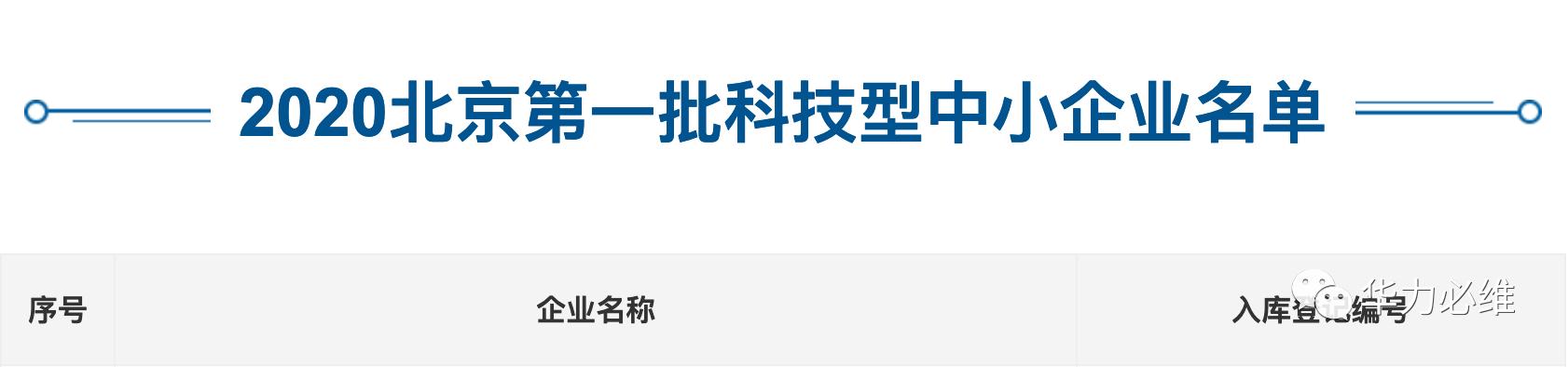 创领发展 | 华力必维被认定为北京2020年第一批科技型中小企业